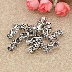 10 Pcs Hair Beads Dreadlocks Cuff Tube Silver Clip Rings Bra