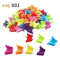 100 Packs Assorted Color Butterfly Hair Clips For Girls Wome