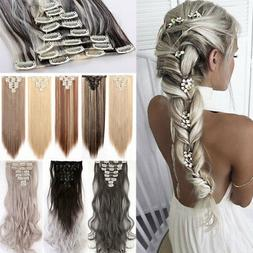 100% Natural Clip in Hair Extensions 8 Pieces Full Head Long