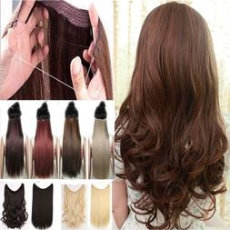 100% Natural Hair Extensions Invisible Elastic Wire No Clips