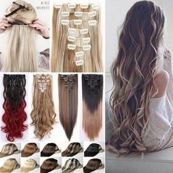 100% Real Natural 8 Pieces Clip In Ins as Human Hair Extensi