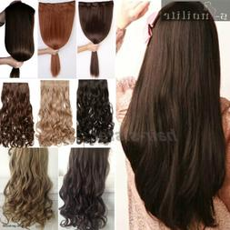 100% Real Thick Hair Extensions Clip in on Hair Extension Fu