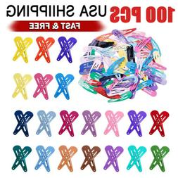 100PCS Solid Candy Color Barrettes for Girls Kids Snap Hair