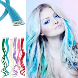 10Pc Curly Synthetic Clip-in Multi Color Long Highlight Stre