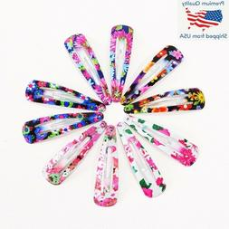 10PCS Floral Print Hair Clips Barrettes Hairpins Headbands B