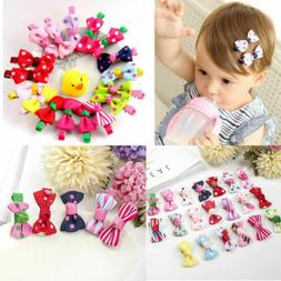 10Pcs Hot Lovely Toddler Girl Hair Clip Ribbon Bow Baby Kids