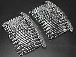 12 Clear Plastic Hair Clips Side Combs Pin Barrettes 80X50mm