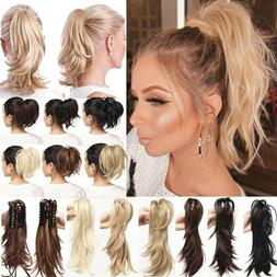 """12"""" Clip In Ponytail Hair extensions Wavy Thick Short Wavy C"""
