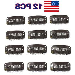 12 PCS Snap Metal Clips for Hair Extensions Weft Clip-on Hai
