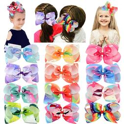 "12pcs 6"" Big Glitter Hair Bow Clips Hair Clip for Baby Girls"