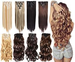 7Pcs 16 Clips 20-24 Inch Thick Double Weft Full Head Clip in