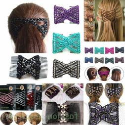 1PC Women Butterfly Beads Double Side Hair Comb Clip Stretch