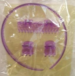 2 NEW Plastic Headbands with Matching Hair Clips PURPLE