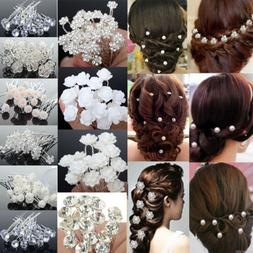 20/40Pcs Wedding Bridal Pearl Flower Crystal Hair Pins Clips