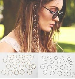 20 Hair Hoops, Braid Rings, Dreads, Clip-In Festival Jewelry
