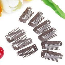 20pcs Snap-Comb Wig Toupee Hair Clips 10 Teeth w/Rubber Back