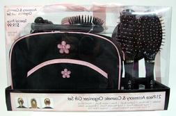 21 Pc Accessory Cosmetic Organizer Gift Set Bag Hair Brushes