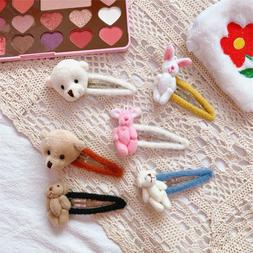 24pcs/lot Furry Bear Cony Bobby Pin Kids <font><b>Hair</b></