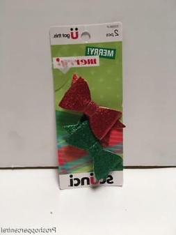 Scunci 2pc Christmas Glitter Bow Hair Clips, Red/Green