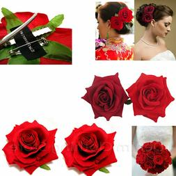 2pc Silk Red Rose Hair Flower Clips Bridal Hairpin Brooch We