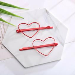 2Pcs Cute Heart Star Hair Clips Hairpins Barrettes Bobby Pin