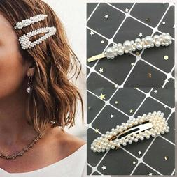 2PCS Fashion Girl Pearl Hair Clip Hairband Comb Bobby Pin Ba
