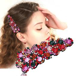 2PCS Women's Crystal Snap Hair Clips Pin Hairpin Slide Grip