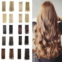 3/4 Full Clip In Hair Extensions Long Curly Straight Extenti