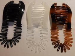 3 pcs COMB BANANA CLIP HAIR RISER CLAW LOT INTERLOCKING JAW