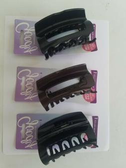 Goody 3 PCS Large Claw Clip Black and Brown for Thick Hair C