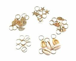 yueton 30pcs Gold Ring Shell Hands Leaves Star Pendant Rings