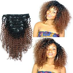 Sassina 3C 4A Ombre Kinky Curly Clip In Human Hair Extension