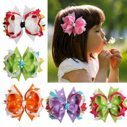 4'' Girls Baby Toddler Kids Grosgrain Hair Bows Alligator Cl