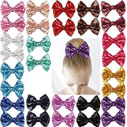 "Araluky 4"" Bling Sequins Hair Bow Clips 30 Pcs Bows for Girl"