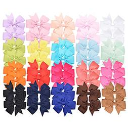 """Prohouse 40 PCS 3"""" Baby Girls Ribbon Hair Bow Clips Barrette"""