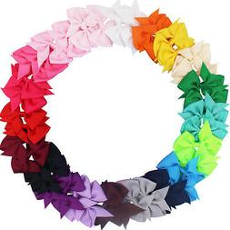 40pcs 20 Pairs Baby Girls Hair Bows For  Kids Hair Bands All