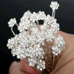 40pcs wedding bridal crystal bling pearl flower