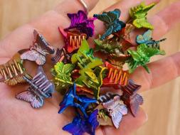 48 iridescent Mini Plastic Butterfly Hair Clips Hair Accesso