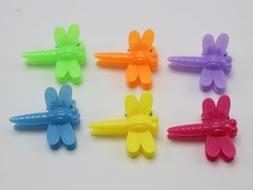 50 Mixed Color Plastic Dragonfly Mini Hair Claw Clips Clamp
