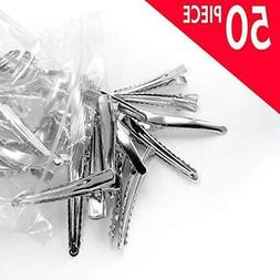 Adorox 50 Pc. 1.75 Inches Silver Alligator Hair Clips With T