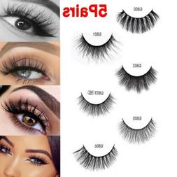 5Pairs 100% Mink Hair Natural Long Eye Lashes False 3D Eyela
