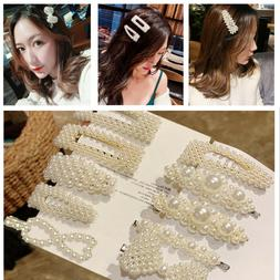 5pcs/6pcs Women Girl Fashion Elegant Pearl Hair Clips Barret