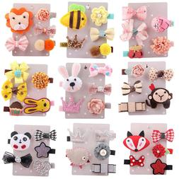 5Pcs Kids Toddler Cute Hairpin Baby Girl Cartoon Animal Moti