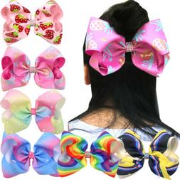 6Pc Teens Mix Colors 8 inch Big Hair Bows Alligator Hair Cli