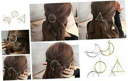 6pcs Minimalist Dainty Gold Silver Hollow Geometric Metal Ha