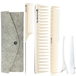 HYOUJIN 5in1 6ps Ivory White Professional Hair Styling Comb