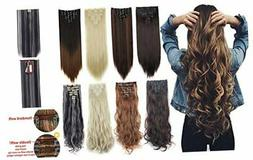 "7Pcs 16 Clips 23""-24"" Thick Curly Straight Full Head Clip in"