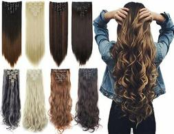 "7Pcs 16 Clips 23""-24"" Thick Curly Straight Full Head Cli"