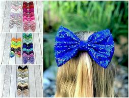 8 inch sparkle bows on clips big bows for toddler and girls,