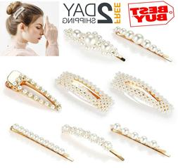 NEW 8 Pcs Pearl Hair Clips Barrettes Bobby Pins Decorative H